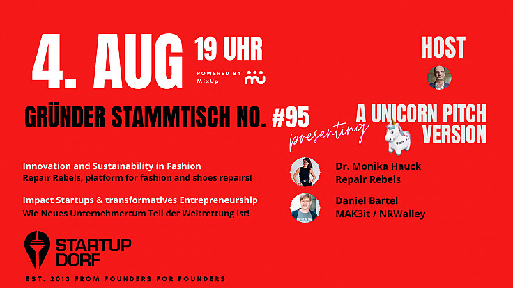 Gründerstammtisch No. 95 - August Unicorn Pitch & Innovation and Sustainability Special
